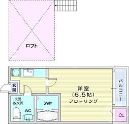 仙台市営南北線 旭ヶ丘駅 徒歩6分の賃貸アパート 2階1Kの間取り