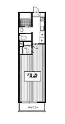 小田急小田原線 玉川学園前駅 徒歩8分の賃貸アパート 1階1Kの間取り