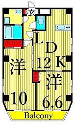 東武伊勢崎線 浅草駅 徒歩11分の賃貸マンション 8階2LDKの間取り