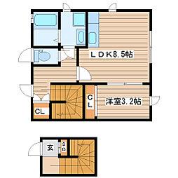 Design Maison 北山 2階1LDKの間取り