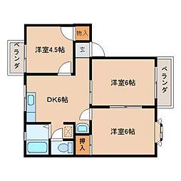 奈良県奈良市五条の賃貸アパートの間取り