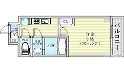 JR片町線(学研都市線) 鴫野駅 徒歩1分の賃貸マンション 5階1Kの間取り