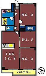 ウインベルコーラス船橋海神[102号室]の間取り