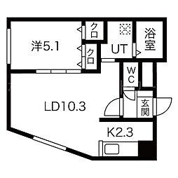 札幌市営東西線 円山公園駅 徒歩13分の賃貸マンション 4階1LDKの間取り