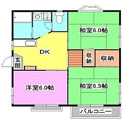 埼玉県新座市石神3丁目の賃貸アパートの間取り
