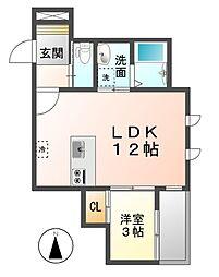 愛知県清須市清洲弁天の賃貸アパートの間取り