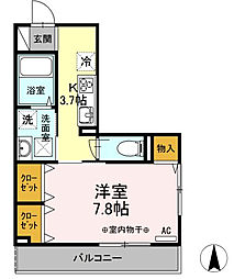 東京都府中市晴見町1丁目の賃貸アパートの間取り