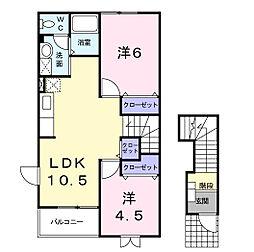 静岡県浜松市南区西島町の賃貸アパートの間取り