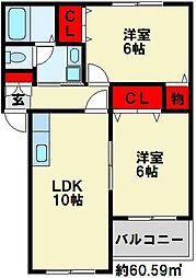シャトーK葛原[2階]の間取り