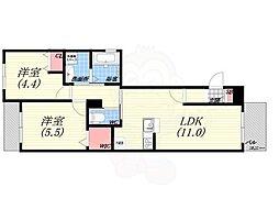 La Casa Siesta 4階2LDKの間取り