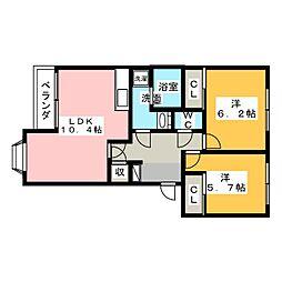 ノア・アシューレ[1階]の間取り