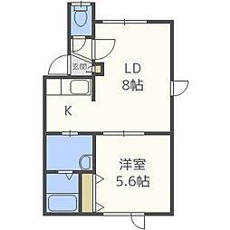 北海道札幌市東区北三十五条東25丁目の賃貸アパートの間取り