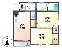愛知県名古屋市中村区沖田町の賃貸アパートの間取り