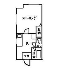福岡県福岡市中央区今川1丁目の賃貸アパートの間取り
