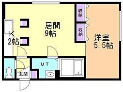 LAPLACE ONE 4階ワンルームの間取り