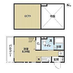 福岡県福岡市中央区港2丁目の賃貸アパートの間取り