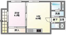 愛知県名古屋市名東区社口1丁目の賃貸マンションの間取り
