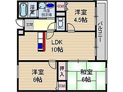 第3コーポタカイ[3階]の間取り