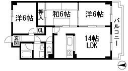 ロイヤルシャトー門戸[6階]の間取り