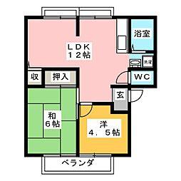 メゾン・ドゥ・ラリオンスC[1階]の間取り