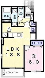 JR赤穂線 長船駅 徒歩25分の賃貸アパート 1階1LDKの間取り