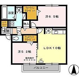 グランモアK A棟[2階]の間取り
