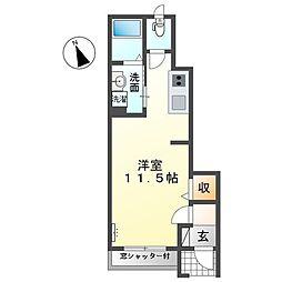名鉄尾西線 六輪駅 徒歩15分の賃貸アパート 1階ワンルームの間取り
