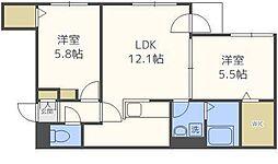北海道札幌市東区北十九条東8丁目の賃貸マンションの間取り
