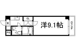 アートプラザ京田辺2 3階1Kの間取り