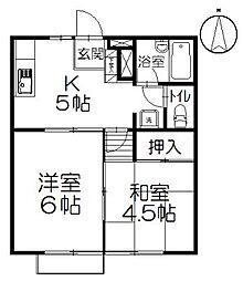 コーポマルマA棟[1階]の間取り