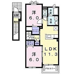 JR身延線 常永駅 徒歩22分の賃貸アパート 2階2LDKの間取り