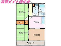 三重県津市垂水の賃貸アパートの間取り