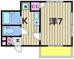 北綾瀬第11秦ビル 5階ワンルームの間取り