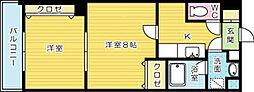プリンセス香春口[5階]の間取り