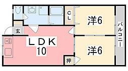 兵庫県姫路市青山の賃貸アパートの間取り