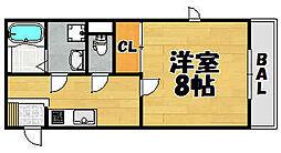 兵庫県川西市新田の賃貸アパートの間取り
