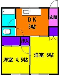 静岡県浜松市中区高町の賃貸アパートの間取り