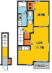 栃木県下都賀郡壬生町至宝3の賃貸アパートの間取り