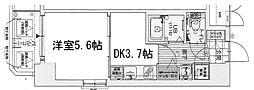 レジュールアッシュ梅田レジデンス 8階1DKの間取り