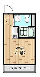 フォレストコート鷲宮 101号室 1階ワンルームの間取り