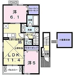 静岡県浜松市南区三島町の賃貸アパートの間取り