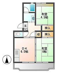 中駒九番団地6号棟[6階]の間取り