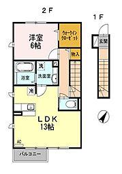東京都国分寺市東戸倉1丁目の賃貸アパートの間取り
