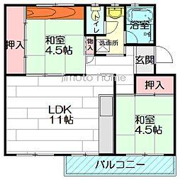 箕面粟生第2住宅9号棟[1階]の間取り