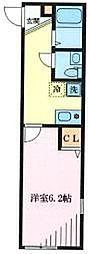 JR南武線 武蔵小杉駅 徒歩16分の賃貸アパート 2階1Kの間取り
