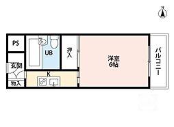 龍亀マンション[3階]の間取り