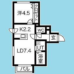 札幌市営南北線 北18条駅 徒歩2分の賃貸マンション 5階1LDKの間取り