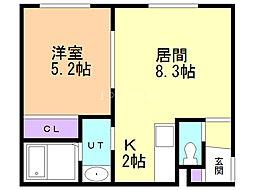 Confort1 (コンフォール) 1階1LDKの間取り