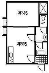 コンフレ−ル富岡[203号室]の間取り