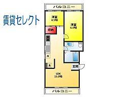 千葉県松戸市本町の賃貸マンションの間取り